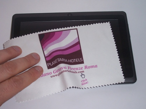 Panno in microfibra per Ipad mini cm 13x19,5 stampa in quadricromia su tutta la superficie