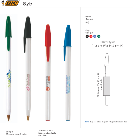 Penna Bic Style stampa 1 colore inclusa